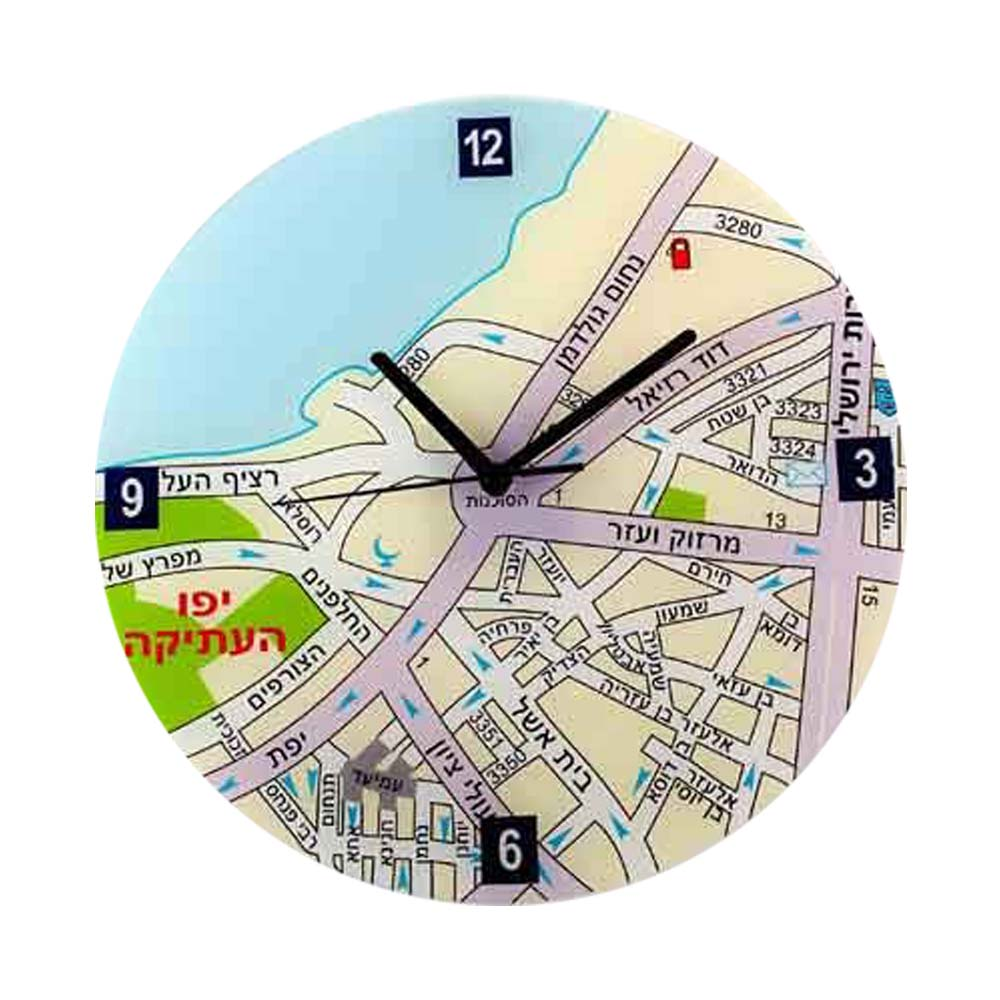Center of Jeruslaem Map Wall Clock - Hebrew