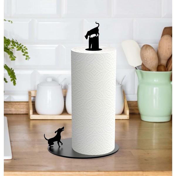 Dog Vs. Cat - Paper Towel Holder - Black