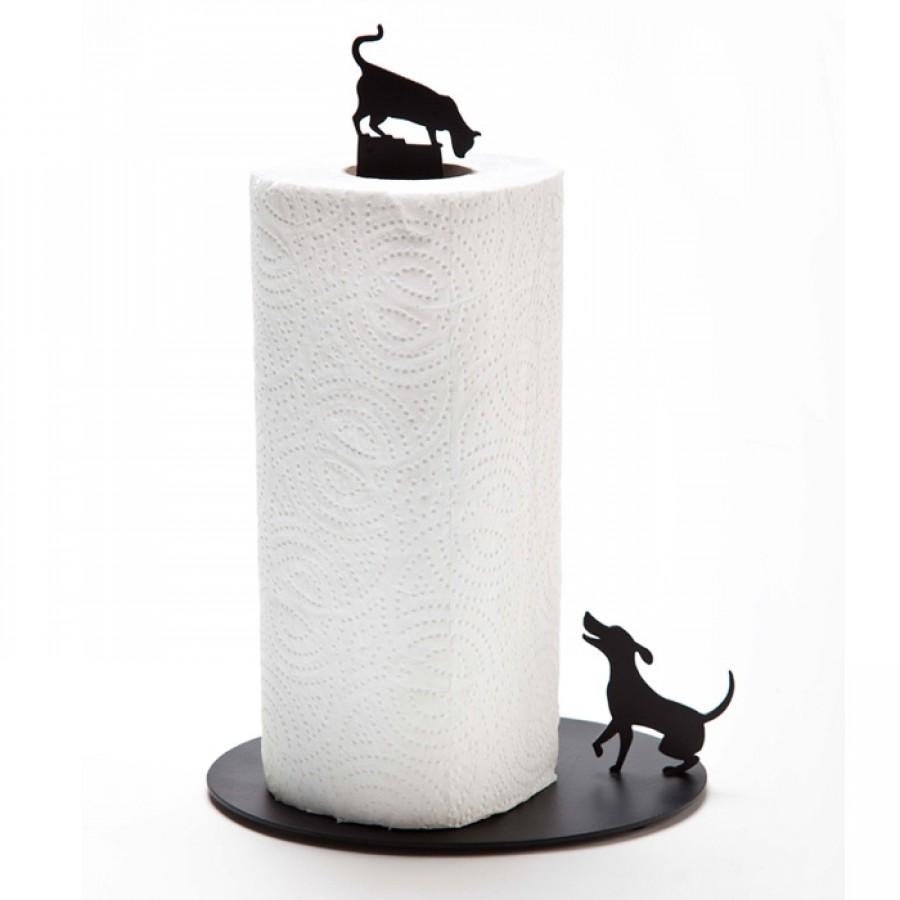 Dog Vs. Cat - Paper Towel Holder - Black by Artori Design