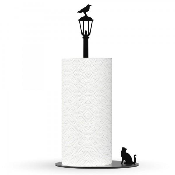 Cat Vs. Crow - Paper Towel Holder - Black