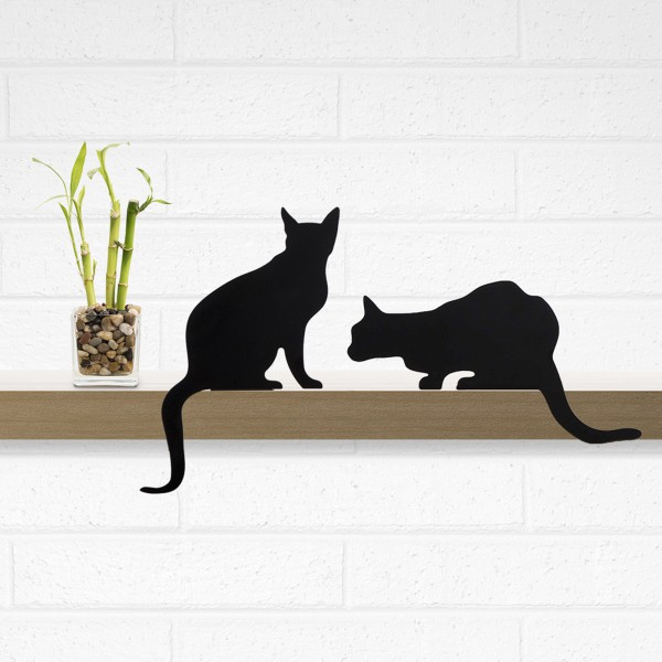 Cat's Meow - Diva + Churchill - a pair of decorative cat silhouette