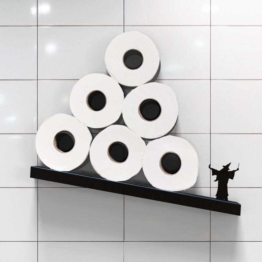 Merlin the Wizard - Metal diagonal shelf for toilet paper rolls - Black | Tilted Toilet Paper Rack - Bathroom Accessories