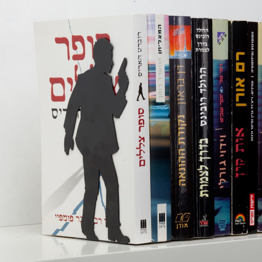 """""""By the book"""" Bookend - for action books"""