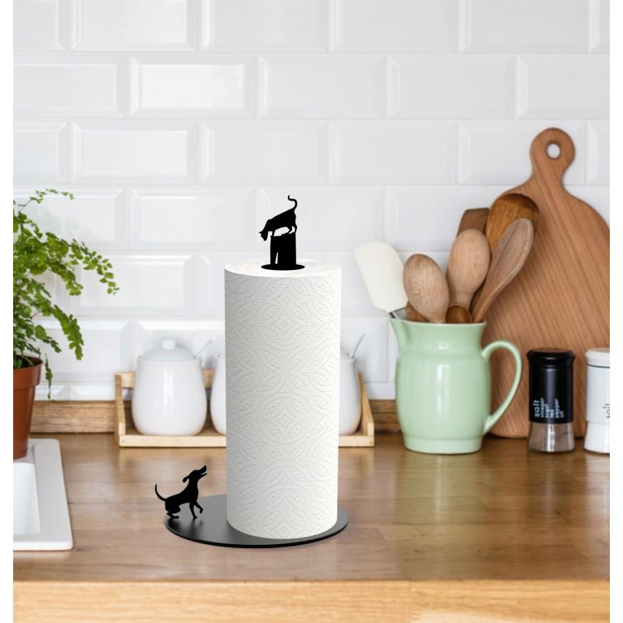 Dog Vs. Cat - Kitchen Paper Towel Holder - Black by Artori Design