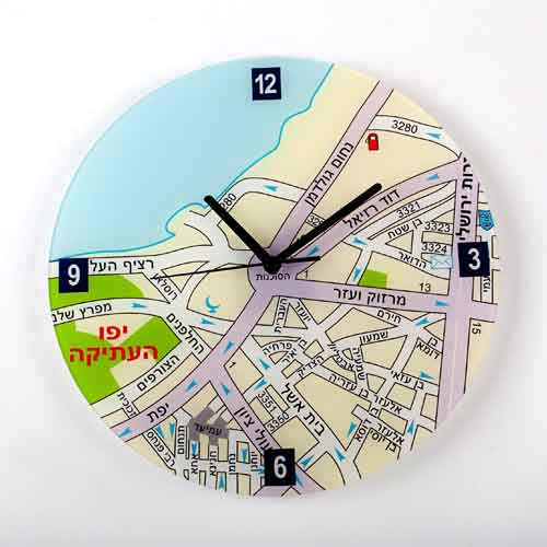 Jaffa Map Wall Clock - Hebrew