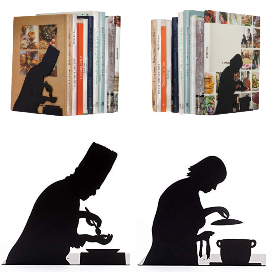 """By the book"" Bookend - for cookery books"