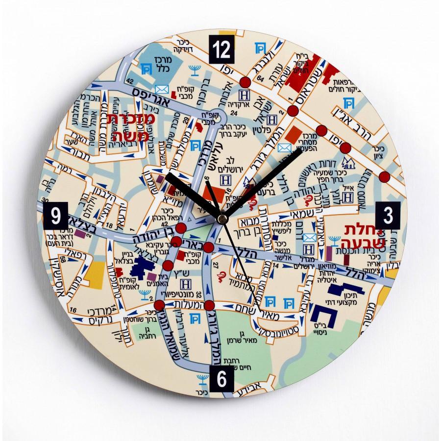 Center of Jeruslaem Map Wall Clock - Hebrew