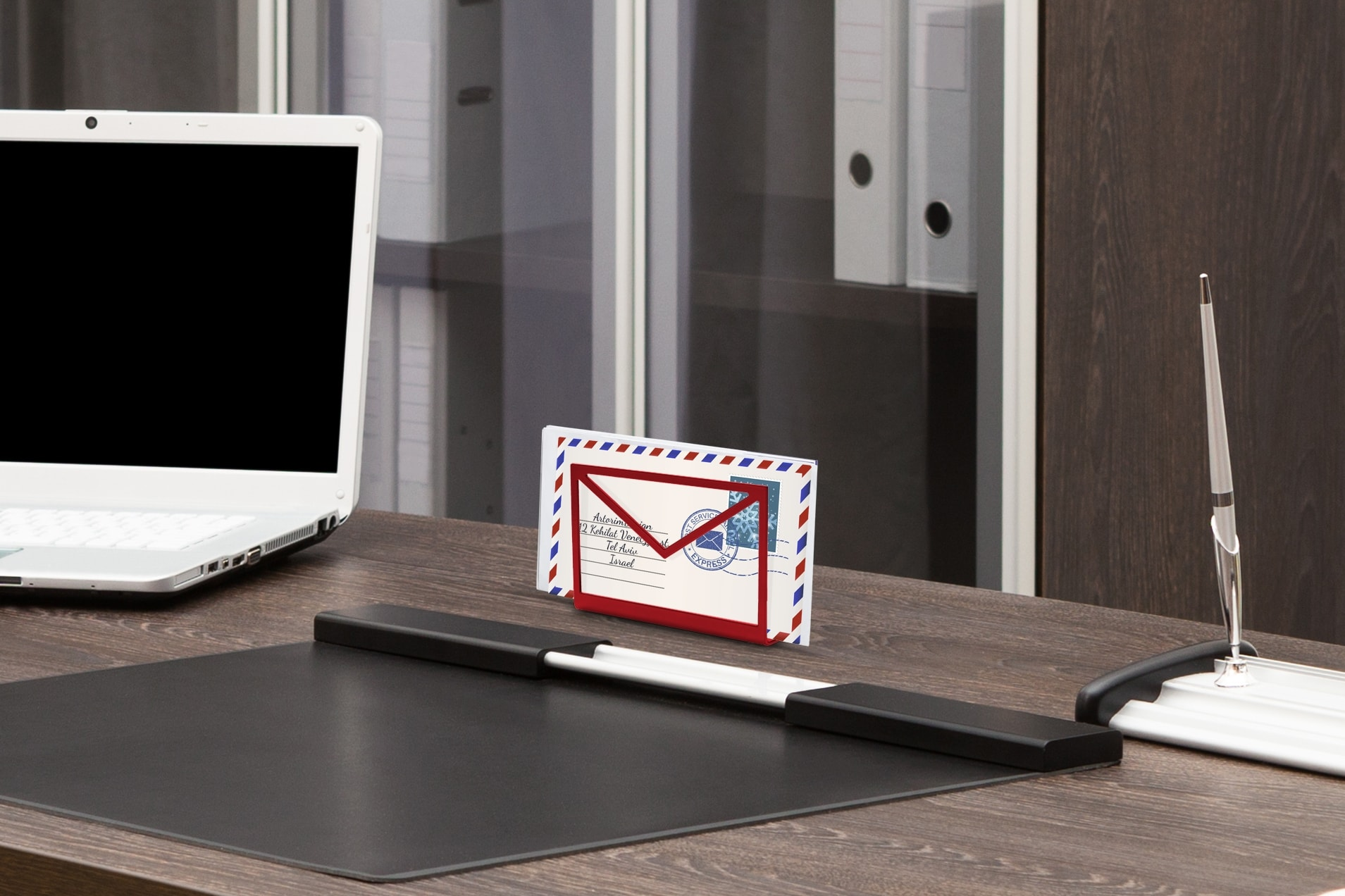 Inbox-paperwork-holder-red